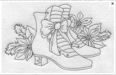 Shoes embroidery - could be used all year round if the poinsettia were changed to another flower.