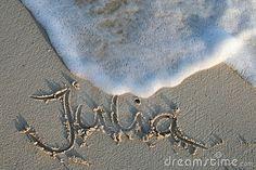 Julia - name in the sand by Giuliachristin, via Dreamstime