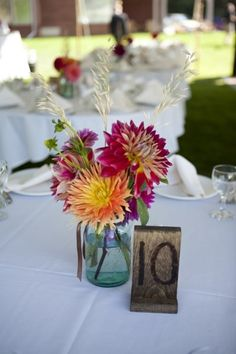 Fall Summer Orange Pink Purple White Centerpiece Centerpieces Outdoor Reception Place Settings Wedding Flowers Photos & Pictures - WeddingWire.com