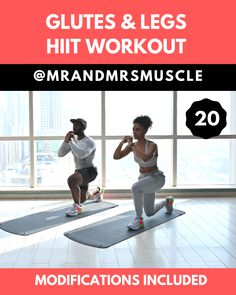 Build your Glutes and Tone your Thighs! Try the full 10 minute HIIT Routine. --- for Health Legs and Glutes Workout - HIIT with Modified Exercises Hiit Workout Routine, Full Body Hiit Workout, Hiit Workout At Home, Gym Workout Videos, Workout Challenge, Gym Workouts, At Home Workouts, Fitness Exercises, Workout Exercises