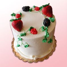 Our popular Berrylicious is only available during the Summer. It's chiffon cake with fresh strawberries, blackberries, and raspberries folded into white chocolate mousse. Iced with our buttercream. Current seasonal desserts: http://www.realbuttercream.com/seasonal-desserts.html