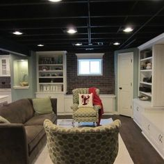 Unfinished Basement Ideas Design, Pictures, Remodel, Decor and Ideas - page 13 (basement ceiling and lights) Unfinished Basement Ceiling, Basement Ceiling Options, Old Basement, Basement Lighting, Basement House, Basement Makeover, Basement Bedrooms, Basement Renovations, Basement Walls