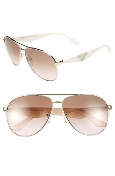 00d6093985a7 Prada 60mm Aviator Sunglasses available at  Nordstrom Ray Ban Sunglasses  Outlet