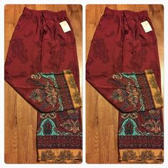 "Embroidered Palazzo Pants NWT- Embroidered Palazzo Pants- elastic waist-Material 100%Polyester- Length 42""us on IG @babsboutique_ Pants Wide Leg"