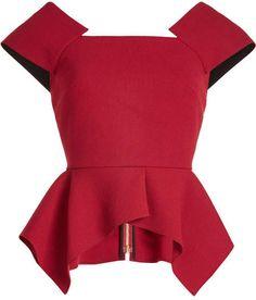 Roland Mouret Wool Top With Peplum In Claret Red Peplum Dresses, Red Peplum Tops, Peplum Shirts, Shift Dresses, Frilly Shirt, Ruffle Shirt, Ruffle Top, Woolen Tops, Formal Tops