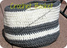 Crochet Basket used to hold projects in progress!! Great for using in the car to travel with!