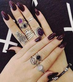 Super Nails Purple And Silver Design パープルネイルのアイデア Ideas Dark Nail Polish, Dark Nails, Maroon Nails, Plum Nails, Gradient Nails, Dark Purple Nails, Purple Manicure, Red Nail, White Nail