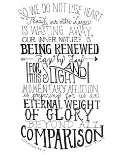 Illustration of 2 Corinthians 4:16-17 by BuildingFIVE on Etsy https://www.etsy.com/listing/228160463/illustration-of-2-corinthians-416-17