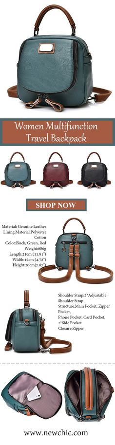 US$29.98 Women Genuine Leather Handbags Casual Multifunction Travel Backpack Large Capacity Shoulder Bags