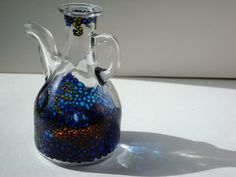 Hand Painted Glass Jug With Underwater Design in the by Anumvella