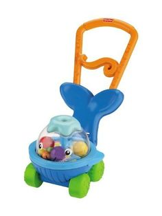 Fisher Price Ocean Wonders Push N Whirl Whale by Fisher Price. $69.00. When baby's ready to walk, the whale is ready to roll. Welcomes baby to sit, play, and enjoy. Ball-spinning action with every press of the clear dome. Lift the handle up for push-along fun!. Recommended age: 6-36 months. This fun ocean friend welcomes baby to sit, play, and enjoy colorful ball-spinning action with every press of the clear dome. And when baby's ready to walk, the whale is ready to roll-just l...