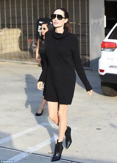 Strutting her stuff: Angelina Jolie vamped it up in a leggy LBD for Deadline Hollywood's s...