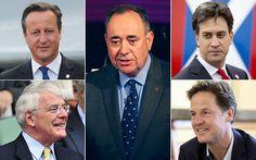 Clockwise from top left: David Cameron, Alex Salmond, Ed Miliband, Nick Clegg and John Major