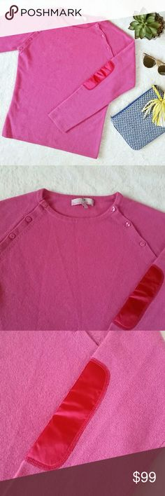 """Berenice Elbow Patch Pink Cashmere Sweater French brand Berenice pink cashmere sweater with elbow patches. 100% cashmere. Size large. Pit to pit is 18"""" flat and shoulder to hem is 23"""". In great pre-loved condition with minimal signs of wear. Berenice  Sweaters Crew & Scoop Necks"""