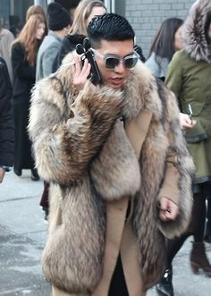 andyveenyc:  Street Style: Men's Fur Coats, Accessories & Chic Looks From NYFW F/W 2014  Shooting street style forOut and Latinamagazines this fashion week fall/winter 2014 season, I…  View Post