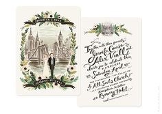 This charming invite is made up of handwritten font and a personalized portrait. | The 25 Most Beautifully Illustrated Wedding Invites