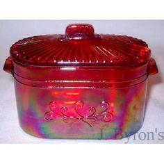 Red Carnival Glass Washboiler Jar Marked Westmo