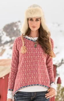 This hi-lo, jacquard pullover shirt will fast become a cool-weather favorite.