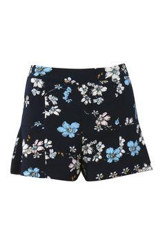 Floral Print Fluted Hem Shorts in Navy Blue