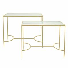 Barnabas Metal and Glass Console Table (Set of 2)