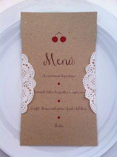 Esta es la minuta que diseñó Angie Fernández para nuestra mesa Shabby Chic. Me encanta el detalle de la blonda y las cerezas.