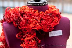 Flounce Ruffle Scarf - Red - CHRISTMAS SALE. $15.00, via Etsy.