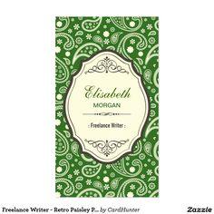 Freelance Writer - Retro Paisley Pattern Business Card