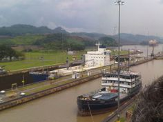 """Miraflores Locks ~ vessels are lifted (or lowered) 54 feet in two stages, allowing them to transit the Canal. The important thing to remember when visiting the Miraflores Locks is to go in the afternoon.  You won't see much if anything before 2 pm. The big """"Panamax"""" vessels enter the Panama Canal in the early morning on each side; they cross each other on the Gatun lake and start coming out around 4 pm. #Panama_Canal #Miraflores_Locks #Attractions"""