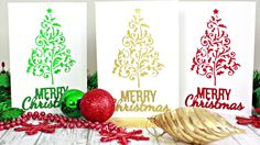 DIY Clean and Simple Christmas Cards. A Video Tutorial on how to make your own DIY Clean and Simple Christmas Cards. These cards are perfect for mass production. They are quick to make, sparkly and can be made in any colour you choose! Simple Christmas Cards, Christmas Crafts For Kids, Xmas Cards, Holiday Crafts, Christmas Ideas, Greeting Cards, Card Making Tutorials, Making Cards, Watercolor Christmas Cards