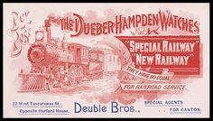 Trade card -- Dueber Hampden Watches   Sheaff : ephemera