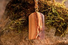 Space inside wooden necklace nature pendant resin by ForestFuzz