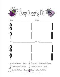 spring bug music worksheet - 2 of 2