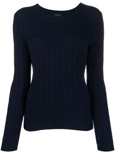Navy cashmere slim fit cable knit jumper from Polo Ralph Lauren featuring a ribbed round neck, long sleeves, a cable knit and a ribbed hem and cuffs. Preppy Sweater, Navy Blue Sweater, Polo Sweater, Polo Ralph Lauren, Ralph Lauren Slim Fit, Winter Fashion Outfits, Trendy Outfits, Women's Fashion, Cable Knit Jumper