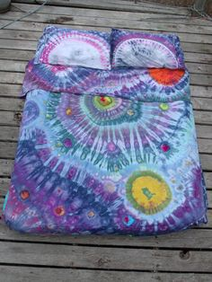 Tie Dye Full Size Spiral Galaxy Sheet Set  / Tie Dye Sheets by PiecefulWorlds Ice Dyed Space Sheets