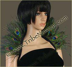 Tribe Nawaar Peacock Eyes And Peacock Flue Feather Collar Showgirl Burlesque Tribal Belly Dance Halloween Feather Collar Costume