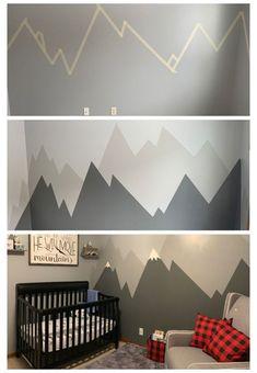 Nursery Themes, Nursery Room, Kids Bedroom, Baby Room Design, Baby Room Decor, Baby Boy Rooms, Baby Boy Nurseries, Mountain Nursery, Mountain Mural
