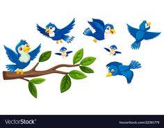 Tree branch and birds collection vector image on VectorStock Pooh Bear, A Cartoon, Paint Designs, Tree Branches, Blue Bird, Planer, Vector Free, Moose Art, Sparrows