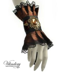 Steampunk - Brown cuff with a large antiqued filigree and wings Steampunk fantasy bracelet Victorian jewelry Fabric wrist decor Victorian wedding by Vilindery Mode Steampunk, Style Steampunk, Steampunk Wedding, Steampunk Costume, Steampunk Clothing, Steampunk Fashion, Steampunk Accessories, Fashion Accessories, Fashion Jewelry