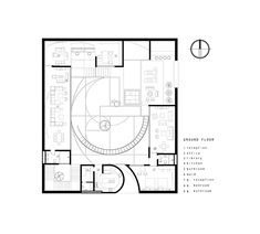 residential proposal in japan generates central courtyard based on fibonacci's golden spiral Islamic Architecture, Architecture Plan, Floor Plan Sketch, Urban Fabric, Architect House, Ground Floor, Proposal, Spiral, Floor Plans