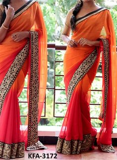 Buy Padding Georgette Red And Orange Replica Saree Find out about bollywood fashion and more - the passion of bollywood is the pride of oldindia. CLICK VISIT link above for more options - Bollywood Fashion New Saree Designs, Silk Saree Blouse Designs, Saree Blouse Patterns, Indian Designer Sarees, Indian Sarees, Satin Saree, Pink Saree, Traditional Silk Saree, Stitching Dresses