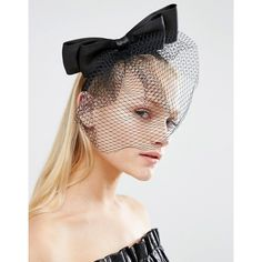 ASOS Bow Veil Hair Fascinator (170 MXN) ❤ liked on Polyvore featuring accessories, hair accessories, black, asos, asos fascinator, asos hair accessories, fascinator hat and bow hair accessories