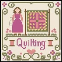 0 point de croix woman quilting - cross stitch