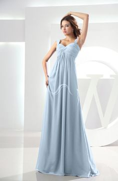 Ice Blue Modest Empire Thick Straps Zipper Floor Length Ruching Prom Dresses