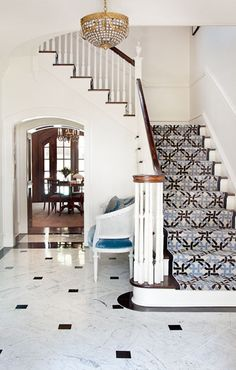3 Common Staircase Design Mistakes {and what to do instead} staircase-white-alls-geometric-stair-runner-settee-marble-floor-bear-hill-interiors Staircase Runner, Staircase Railings, Staircase Design, Stair Runners, Dark Staircase, Stair Design, Stair Handrail, Wooden Staircases, Wooden Stairs