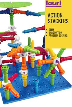 Lauri Action-Stackers are the best STEM toy for your preschooler or toddler to help promote imagination and problem solving. Stacking Blocks, Classic Toys, Fun Learning, Educational Toys, Problem Solving, Gift Guide, Imagination, Preschool, Action