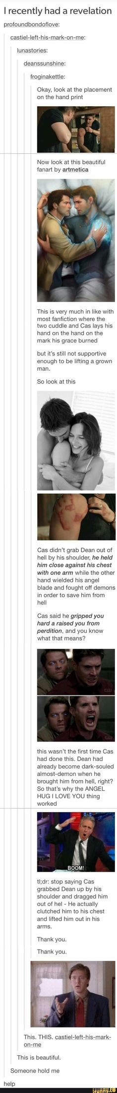 I always wondered how strong cas must be to drag dean out by only his shoulder. This is so cute and also explains a lot.