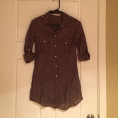 Zara military style long button down Super thin, olive green. Looks great with a belt and leggings/skinny jeans or with shorts. Zara Tops Button Down Shirts