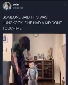 jungkook as a father makes me warm inside🥰 Jungkook Meme, Kookie Bts, Bts Bangtan Boy, Jhope, Taehyung, S Videos, Bts Funny Videos, Bts Memes Hilarious, Jikook