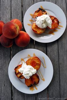 Grilled peaches with caramel sauce and whipped cream. #food #peaches #desserts