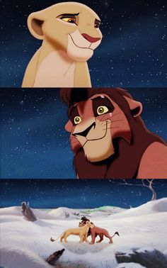 """Kiara and Kovu  ♪♪""""And if only they could feel it too The happiness I feel with you  They'd know Love will find a way Any where we go  we're home If we are there together  Like dark turning into day Some how we'll come through Now that I've found you  Love will find a way"""" ♪♪"""